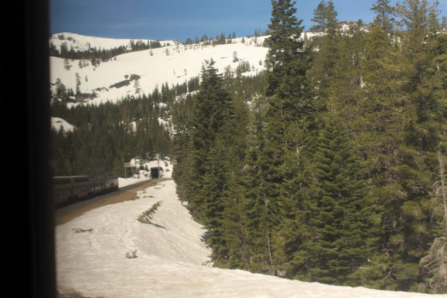 Amtrak train going through a tunnel in Colorado