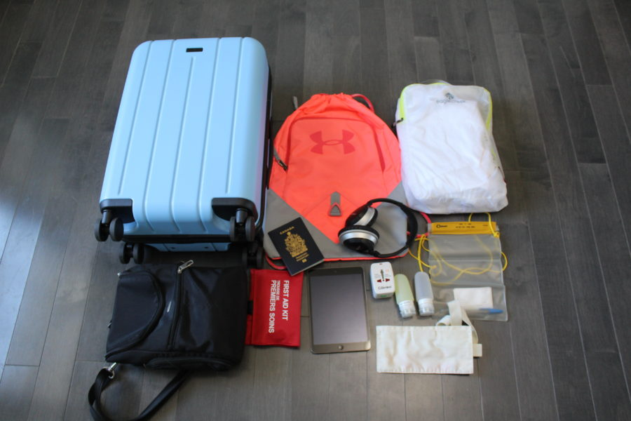 travel gear with a carry-on suitcase