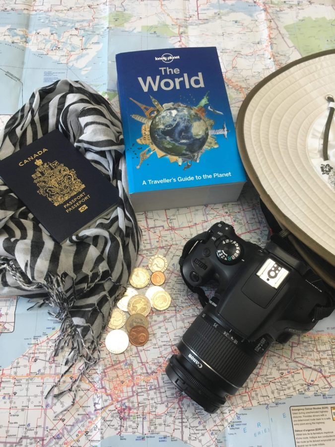 map and camera travel gear