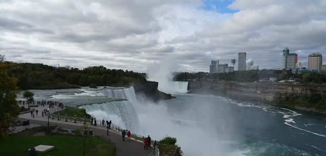 view of niagara falls with niagara hotels in the background