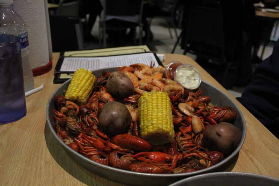Crawfish and shrimp dinner
